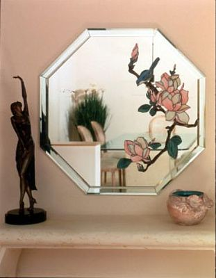 This Is A Detail Of Stained Gl Mirror With Bird And Flower Overlay Beveled Frame